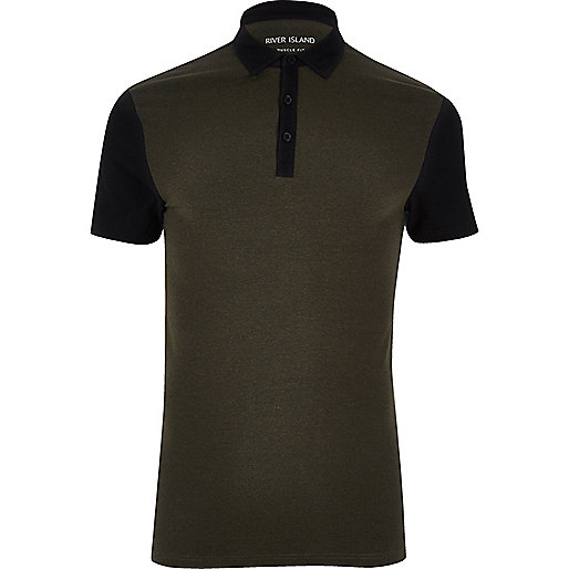 Khaki contrast muscle fit polo shirt