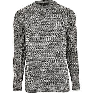 Zwarte slim-fit pullover met brede ribbels