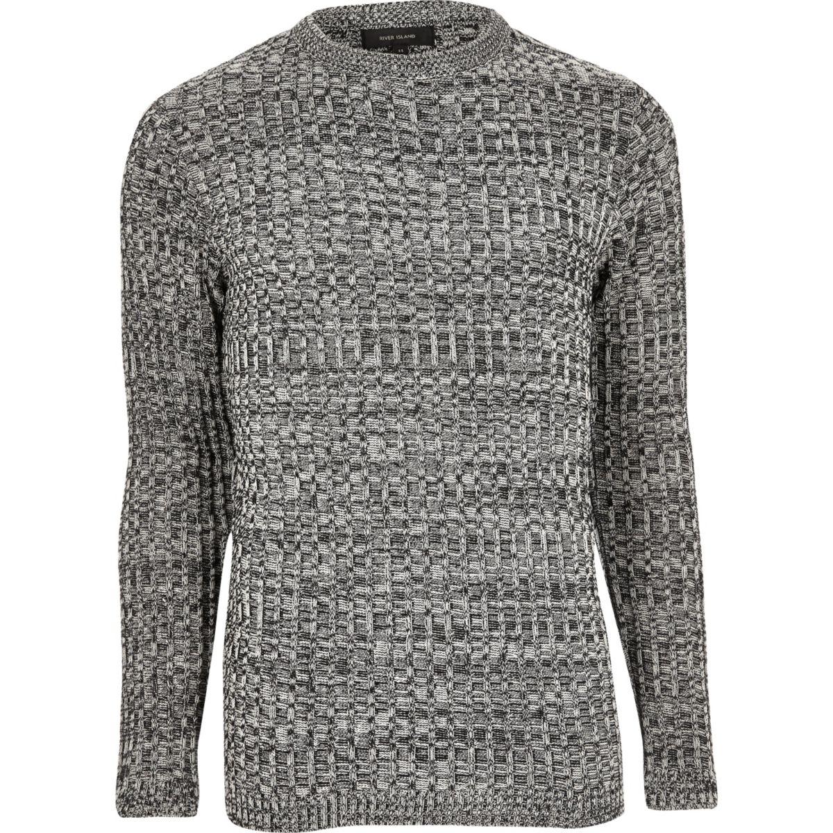 Black twist slim fit jumper