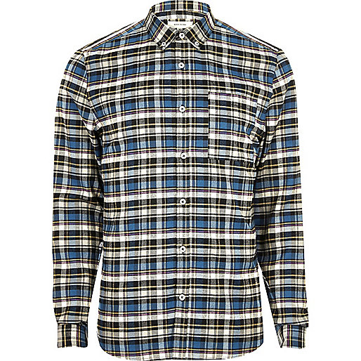 Blue casual check slim fit shirt