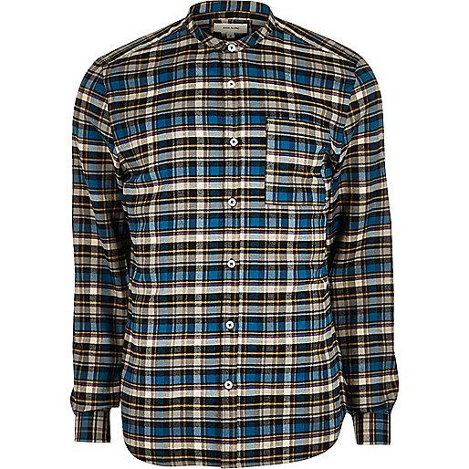 Blue grandad slim fit  casual check shirt