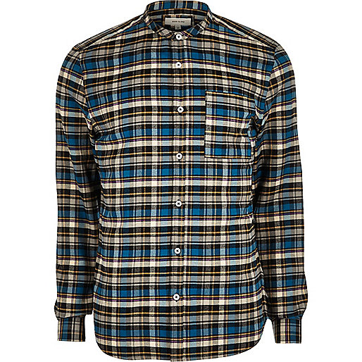 Blue grandad slim fit  casual check shirt
