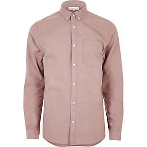 Chemise Oxford casual rose poudré