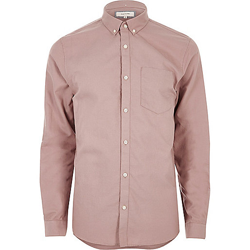 Dusty pink casual oxford shirt long sleeve shirts for Pink oxford shirt men