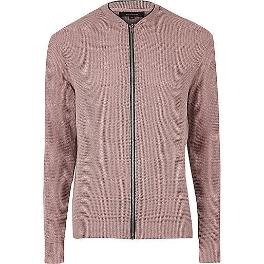 Pink cardigan bomber jacket