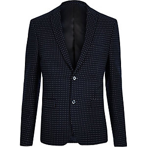 Navy polka dot skinny fit suit jacket