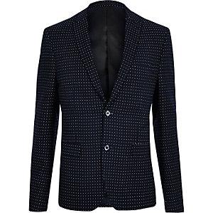 Veste de costume skinny à pois bleu marine