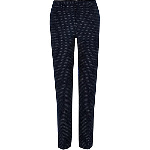 Navy polka dot skinny fit suit trousers