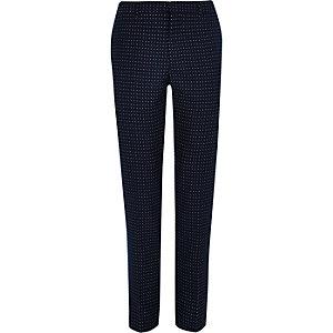 Pantalon de costume skinny à pois bleu marine