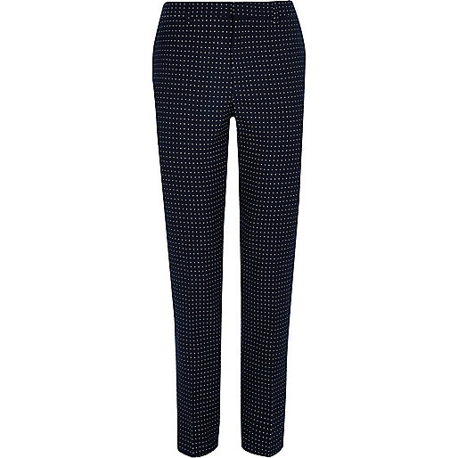 Navy polka dot skinny fit suit pants