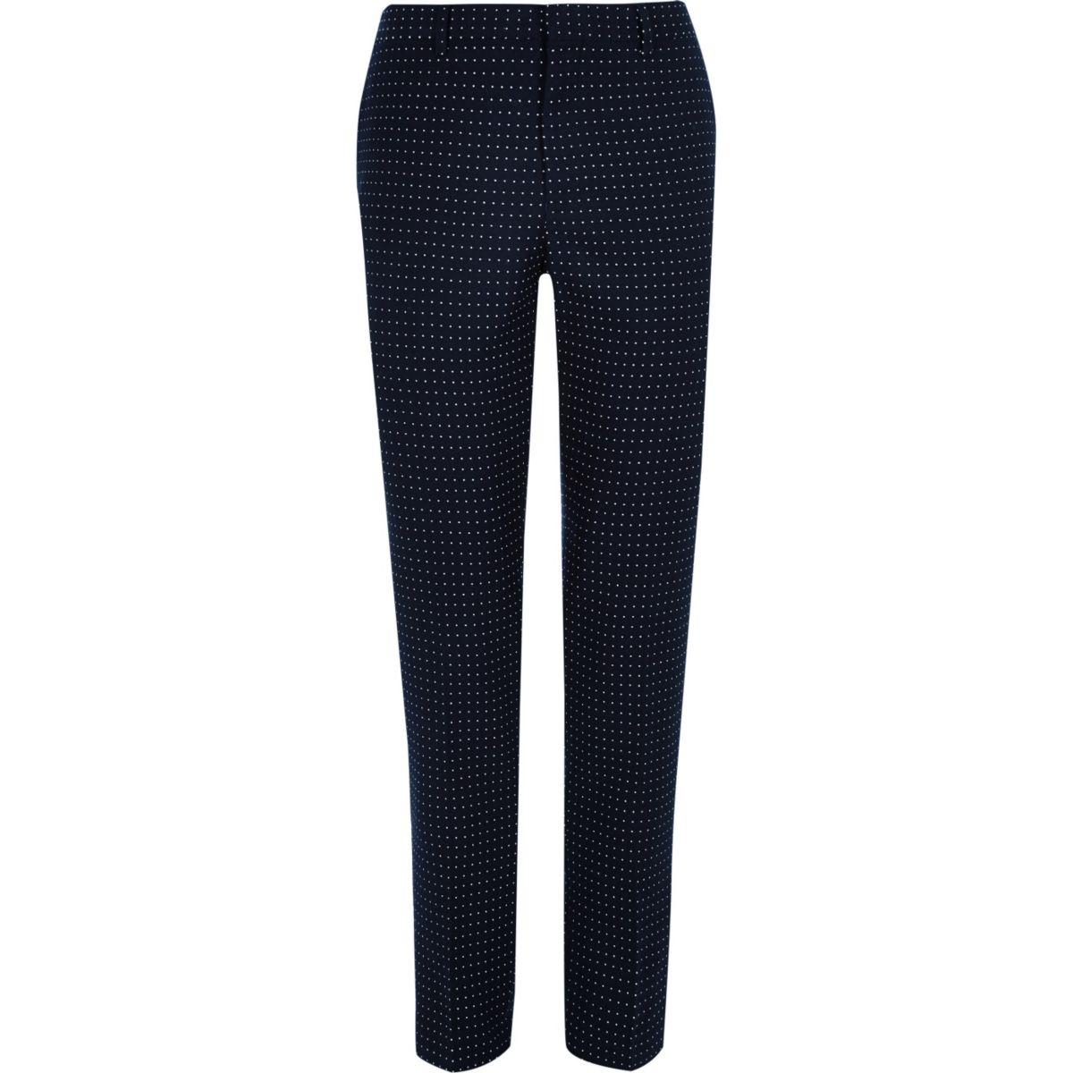 Navy polka dot skinny fit suit pants
