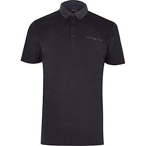 Navy button-down polo shirt