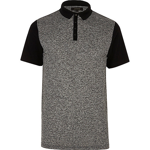 Grey block polo shirt