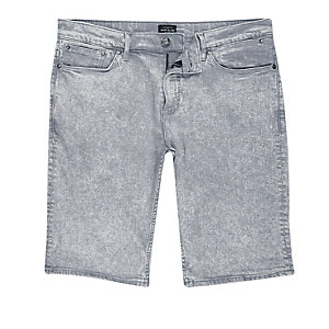 Graue Skinny Fit Shorts in Acid-Waschung