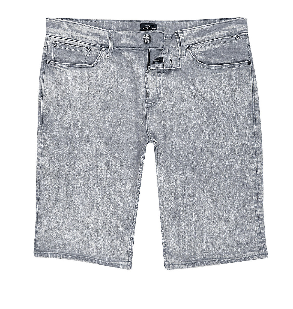 Grey acid wash skinny fit shorts