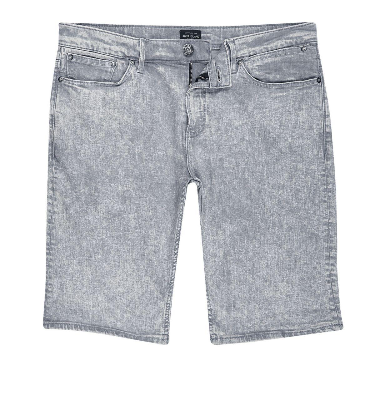 Grey acid wash skinny fit shorts