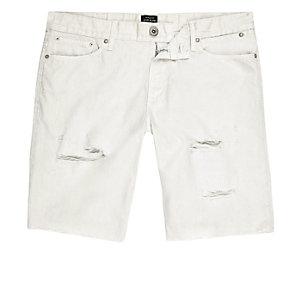 Short en jean grège déchiré coupe skinny