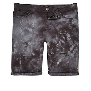Dark blue tie dye skinny fit shorts