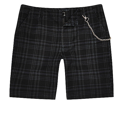 Navy blue check slim fit shorts