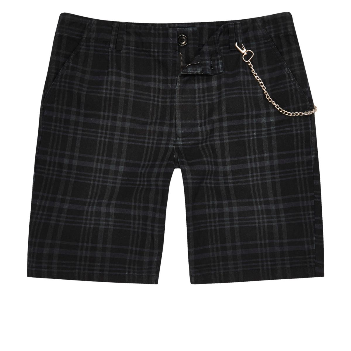 Navy blue check slim fit shorts