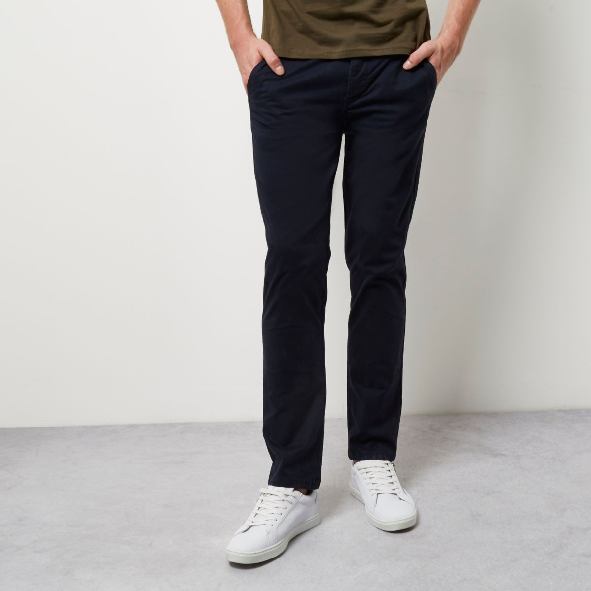 Mens Navy skinny chino trousers River Island