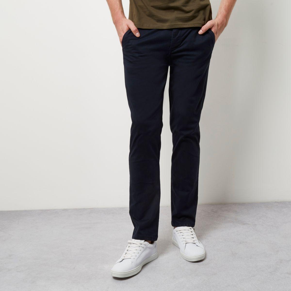 Navy stretch slim chino pants