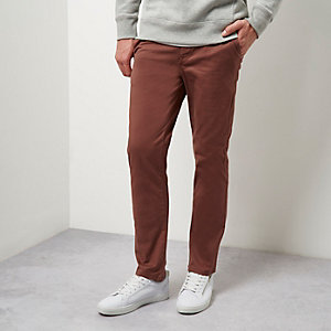 Dusty red slim chino trousers