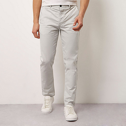 Grey stretch slim fit chino trousers