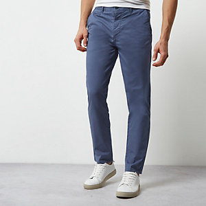 Dusty blue slim chino trousers
