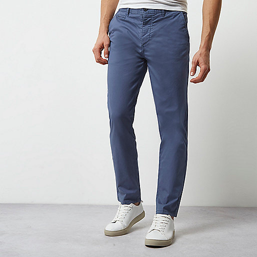 Dusty blue slim chino pants