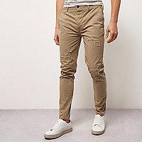 Brown skinny fit distressed casual pants
