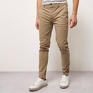 Brown skinny fit distressed casual trousers