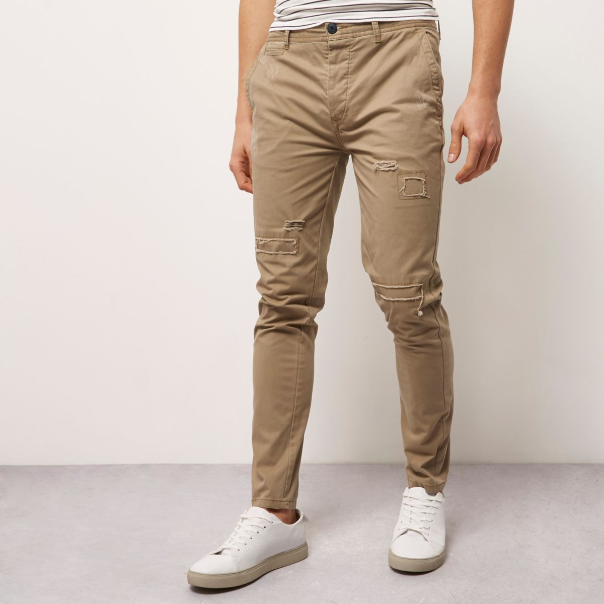 Brown skinny fit distressed casual pants