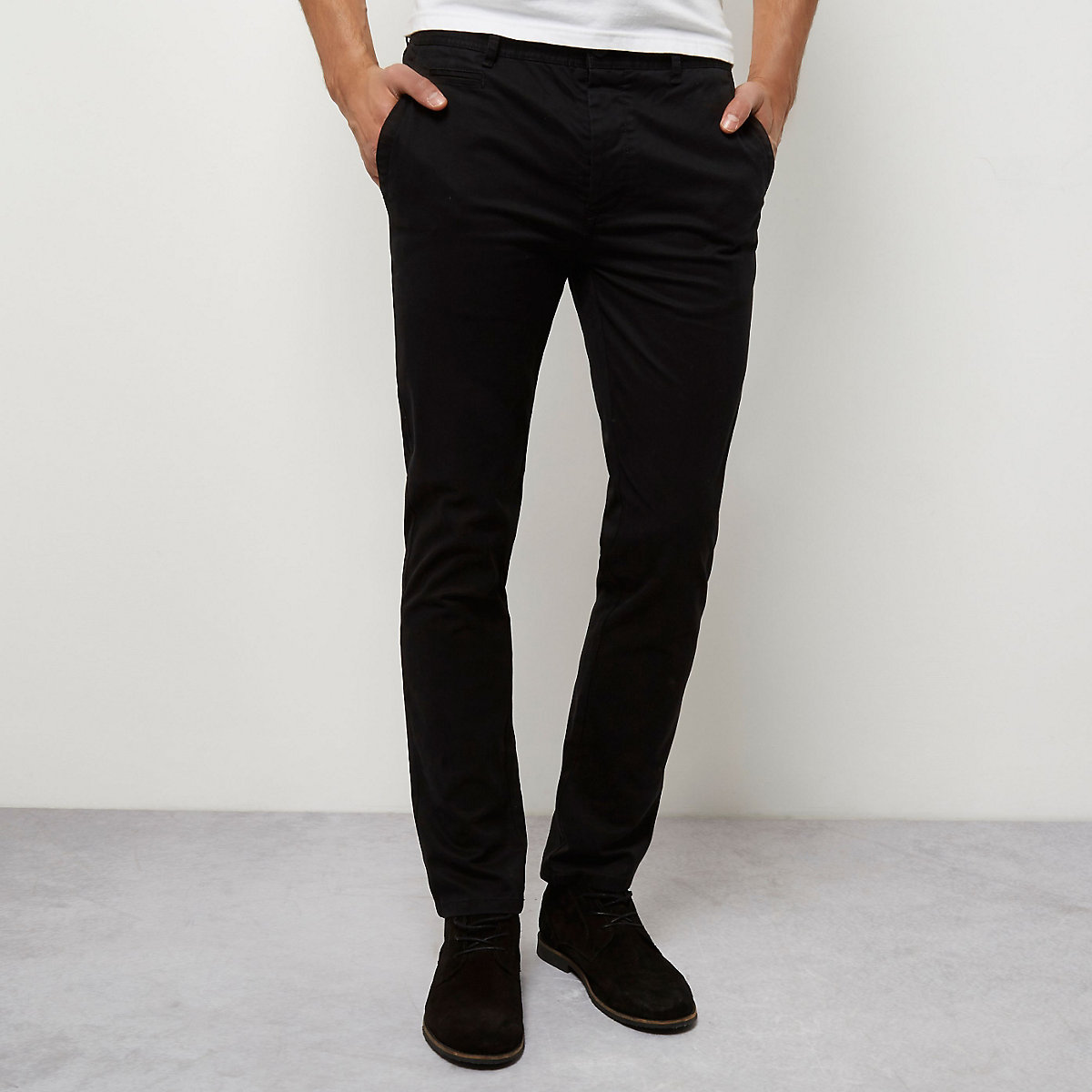 Black stretch skinny chino pants