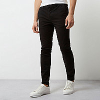 Pantalon chino casual coupe super skinny noir