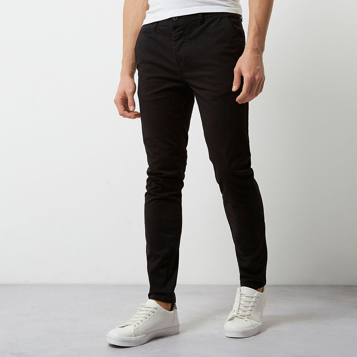 Black super skinny casual chino trousers