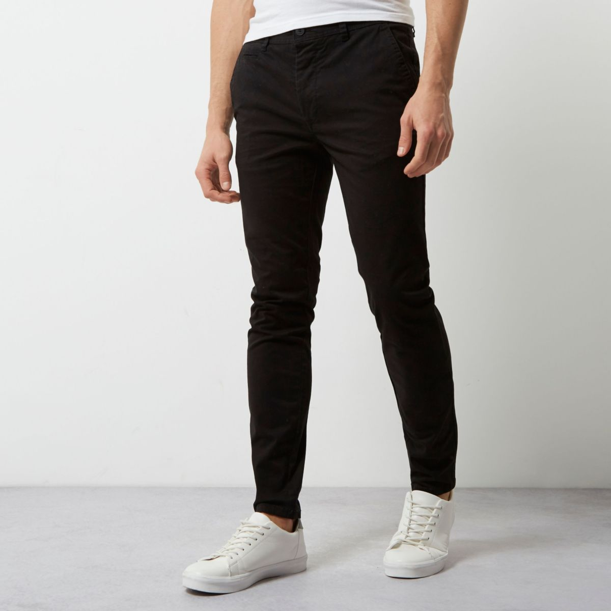 Black super skinny casual chino pants