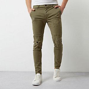 Skinny Hose in Khaki im Used-Look