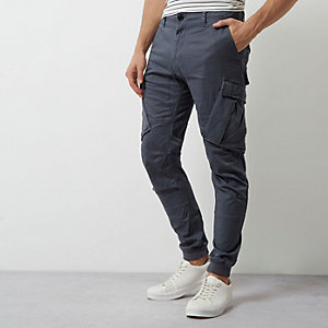 Blaue Slim Fit Cargo-Hose