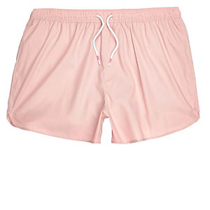 Pink runner style swim trunks