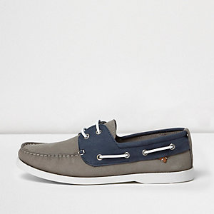 Grey and blue boat shoes