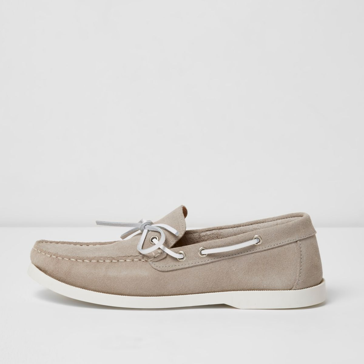 Light grey suede boat shoes