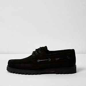 Black nubuck cleated boat shoes
