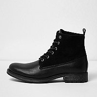 Black leather panel fleece lined boots