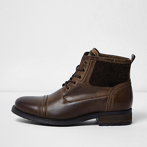 Dark brown leather fleece military boots