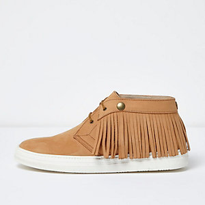 Light brown leather fringed desert boots