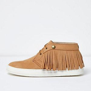 Desert boots en cuir marron clair à franges