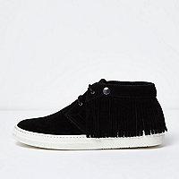 Black leather fringed desert boots
