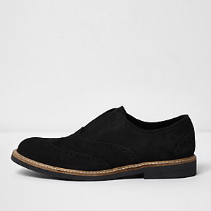 Black suede slip on brogues