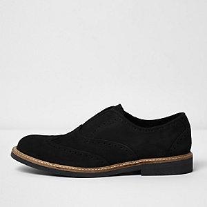 Black suede slip on brogues